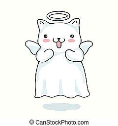 kawaii, petit ange, isolé, style., japonaise, arrière-plan., décrit, dessin animé, chat, ailes, halo, beige