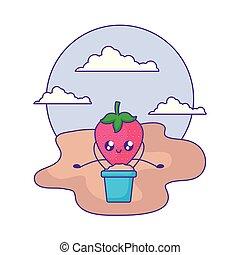 kawaii, seau, fraise, sable, fruit, plage