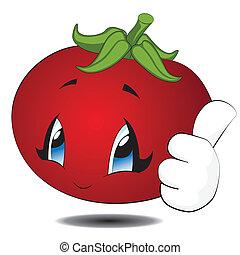 kawaii, tomate, dessin animé