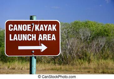 kayak, canoë, lancement, signe