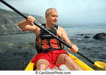 kayaking, homme