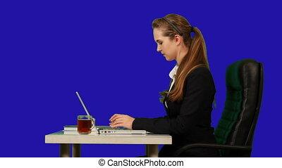key., affaires femme, typing., chroma