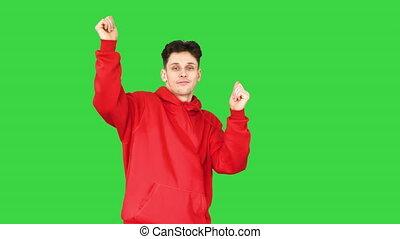 key., chroma, rouge vert, désinvolte, écran, danse, homme, hoody