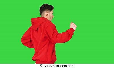 key., danse, sommet, chroma, danse, jeune, hip-hop, vert, homme, coupure, écran