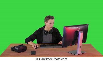 key., jouer, chroma, vert, jeu ordinateur, écran, personnel, gamer, vidéo