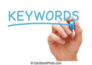 keywords, bleu, marqueur