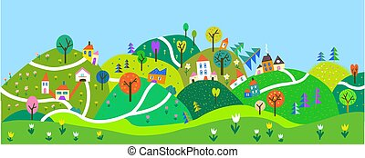 kids., illustration, mignon, collines, paysage, panoramique, vecteur, village