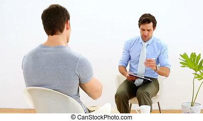 kinésithérapeute, patient, parler
