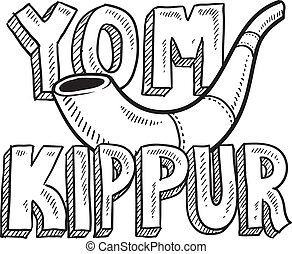 kippur, yom, vacances, juif, croquis
