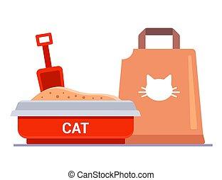 kit, litter., plateau., sac, chat, filler