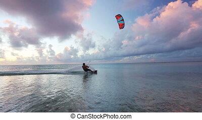 kiteboarding, coucher soleil