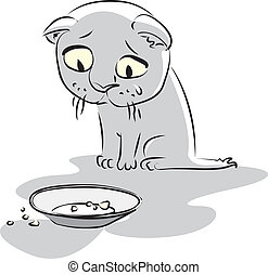 kitty., vecteur, affamé, illustration