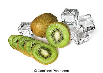 kiwi, blanc, cubes, isolé, glace