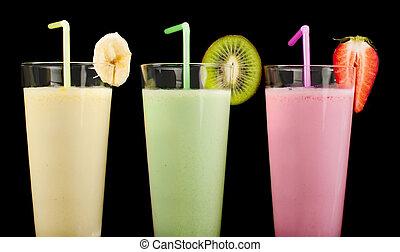 kiwi, fraise, fruis, secousse, frais, banane, lait