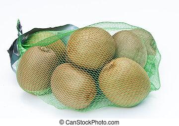 kiwi, sac, fond, fruits, filet, blanc