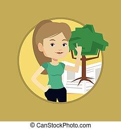 knowledge., arbre, étudiant, pointage
