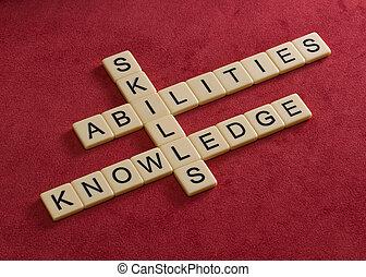 knowledge., techniques, apprentissage, puzzle, mots croisés, mots, capacités, concept.