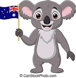 koala, dessin animé, tenue, drapeau australien