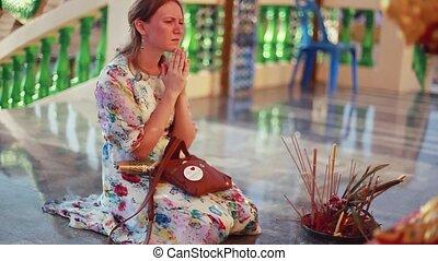 koh, femme, genoux, laem., triste, prie, plai, complexe, venir, wat, temple, 1920x1080, samui