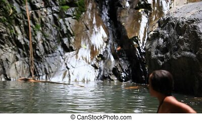 koh, femme relâche, jeune, chute eau, thailand., sexy, hd., samui., 1920x1080