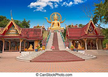 koh samui, île, bouddha, statue, grand