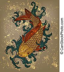 koi épiloguent, japonaise, vecteur, fond, grungy, fish