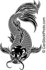 koi épiloguent, style, fish, woodcut