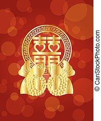 koi, chinois, double, fish, bonheur, fond, rouges