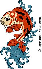 koi, hand-drawn, (carp, fish)
