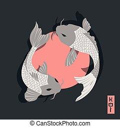 koi, style, autour de, carpe, japonaise, deux, traditionnel, soleil, fish, natation