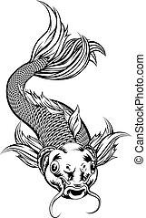 koi, vendange, style, carpe, fish