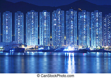 kong, bâtiments, appartement, hong, nuit