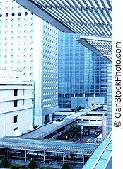 kong., bâtiments bureau, pont, cityscape, hong