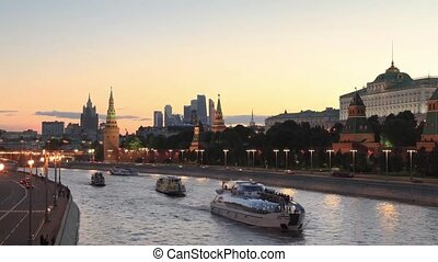 kremlin, moscou, vue, russie, nuit