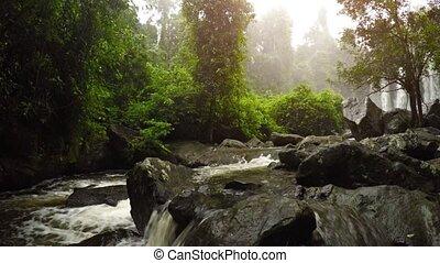 kulen, cambodge, rivière, naturel, phnom, chute eau, pittoresque, son