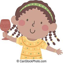 kwanzaa, tasse, illustration, kikombe, unité, girl, gosse
