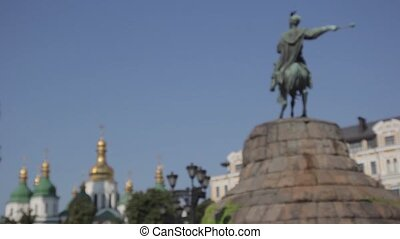 kyiv., bogdan, autumn., ukraine., khmelnitsky., monument