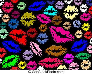 lèvres, caractères, coloré