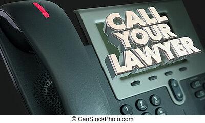 légal, aide, avocat, procès, sue, appeler, ton, téléphone, illustration, 3d