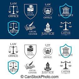 légal, icônes bureau, centre, droit & loi, justice