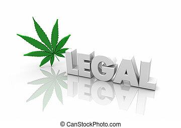légal, marijuana, récréatif, usage, mot, illustration, médicinal, 3d