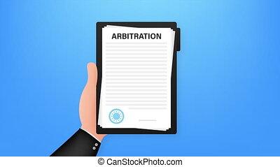 légal, stockage, résolution, conflict., illustration., arbitrage, agreement.