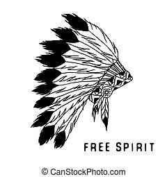 légende, indien, tribal, style