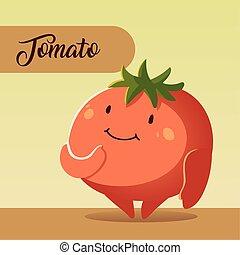 légume, dessin animé, kawaii, tomate, mignon