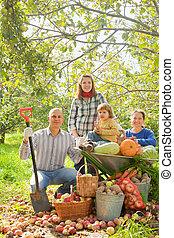 légume, famille, jardin, heureux