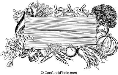 légume, frais, jardin, bois, signe