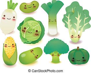 légume, fruit, collection