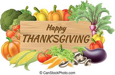 légume, fruits, produire, thanksgiving, signe