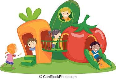 légume, gosses, stickman, cour de récréation, illustration