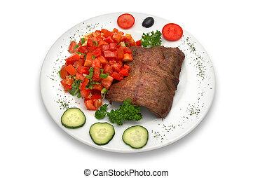 légume, grillé, veau, filet, salade